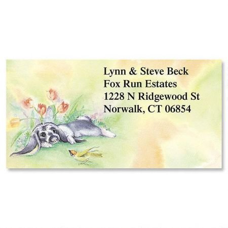 (Personalized Bunnies Easter Address Labels - Set of 144 Self-Adhesive, Flat-Sheet rectangle labels)