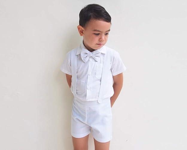 c4235ea6d26 Amazon.com  3pcs Boy Linen Suit - White