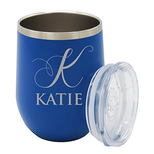 (Custom Engraved Insulated Stemless Wine Tumbler Cup - Personalized Bridesmaid Beach Pool Girls Fun Gift - Monogrammed for Free (Deep Blue))