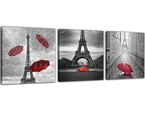 NAN Wind 3 Pcs Paris Canvas Prints Black and White Canvas with Red Umbrella Eiffel Tower Decor Red Car Red Wall Art Paintings on Canvas Stretched and Framed Ready to Hang for Home Decor -