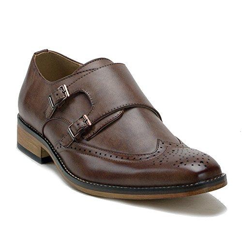 (J'aime Aldo Men's VW153 Wing Tip Brogue Double Monk Strap Dress Loafers Shoes, Brown, 8)