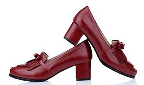 Pointed With On Dress Pumps Womens Slip Mid Aisun Bows Toe Shoes Fringed Red Vintage Heels Loafers Block Hnt6xq16