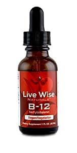 Vitamin B12 Liquid Drops, Sublingual, Methylcobalamin, Vegan, NON GMO, Superior Absorption Over Pills, Capsules, Soft Gels, & Patches, 1000/3000/6000mcg, 3000mcg = 60 servings (1 oz.)