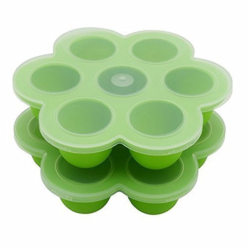 BPA Free Silicone Baby Food Storage Container With Clip-on Lid - Set of Two - Light (Set Storage Light)
