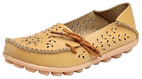 UJoowalk Frauen Leder Rindsleder aushöhlen Casual flache Fahr Schuhe Slipper Gelb