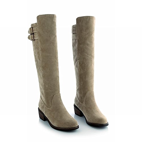 Beige Fashion Women's Carolbar Buckles Mid Heel Boots Long 4A4UqwTS