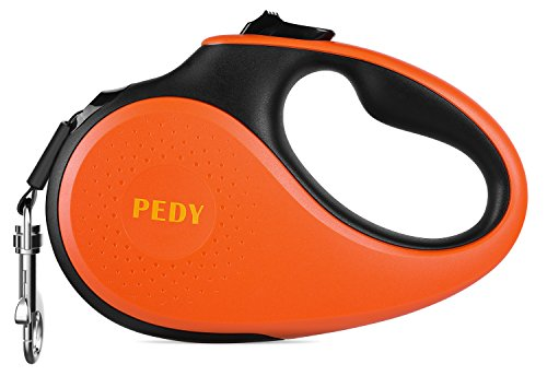 Pedy Retractable Dog Leash, Patented 360°Tangle-Free Heavy Duty Reflective Dog Walking Leash With Anti-Slip Handle; 16 ft Strong Nylon Tape/Ribbon; One-Handed Brake, Pause, Lock(M-Under 55 LBS) by Pedy