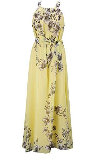 chouyatou Women's Summer Boho Halter Neck Floral Printed Chiffon Maxi Long Dress (Medium, Yellow)