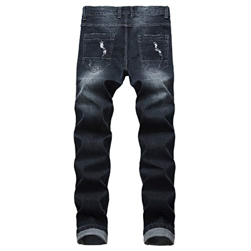 Distrutto Slim Strappato Topgrowth Casual Taped Skinny Uomo Scuro Di Elastico Denim Grigio Fit Jeans Strappati Biker Pantaloni TYqzT