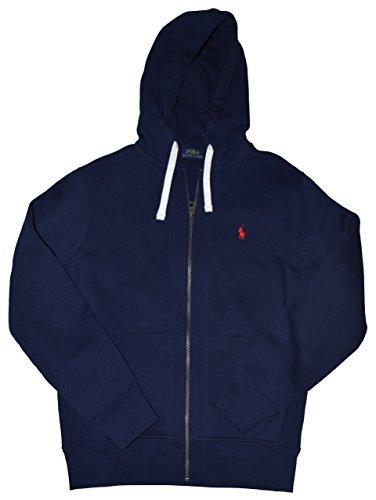 Polo Ralph Lauren Pony Men's Full Zip Hoodie Sweatshirt Cruise Navy Blue (X-Large)