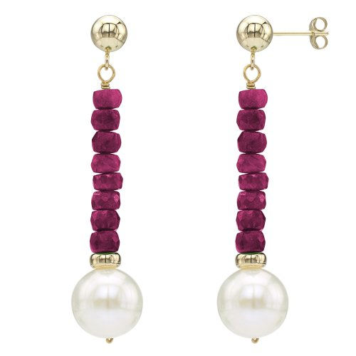 14k Yellow Gold 9-9.5mm White Freshwater Cultured Pearl 4mm Simulated Red Ruby Stud Dangle - 14k Gold Pearl Ruby
