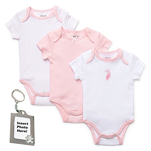 Little Me Ballerina White Bodysuit Pink Polka Dots Bow with Keychain 3 mth