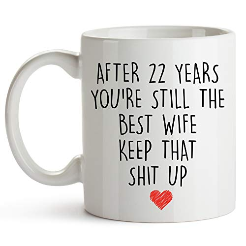 YouNique Designs 22 Year Anniversary Coffee Mug for Her, 11 Ounces, 22nd Wedding Anniversary Cup For Wife, Twenty Two Years, 22nd Year (Gift Anniversary 22nd)