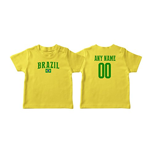 nobrand Brazil T-shirt Kids Infant Country Flag Tee Personalized World Cup Pride (Yellow T-shirt 4T) from nobrand