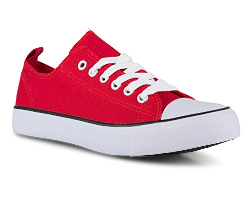 (Twisted Womens Hunter Lo-Top Stylish Canvas Sneakers - RED, Size 6)