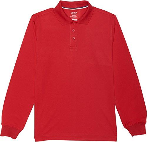 [French Toast School Uniform Boys Long Sleeve Sport Polo Shirt, Red, Medium (8)] (French Toast Long Sleeve Polo Shirt)