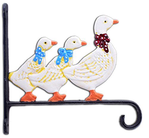 "Import Wholesales Duck Family Plant Hanger Flower Basket Hook Colorful Cast Iron Large 10.125"" Deep"
