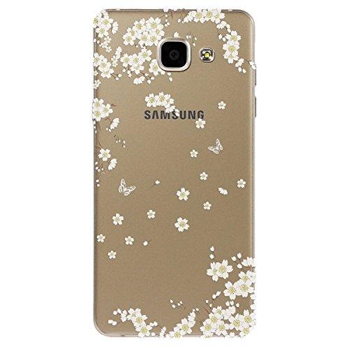 Samsung Galaxy A3 / 2016 Hülle , Yokata PC Hart Case mit Weich Pink Silikon Bumper Weiß Blumen Motif Schale Transparent Durchsichtig Dünn Case Schutzhülle Protective Cover