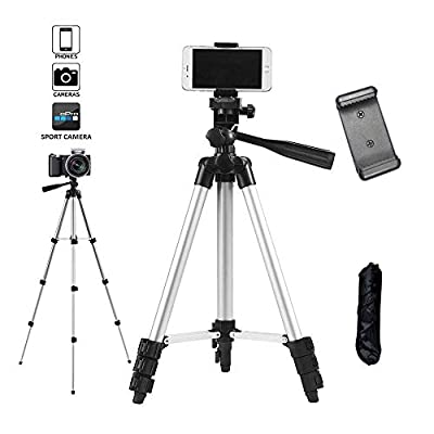 "Shuzhu Tripod 42"" Aluminum Professional Portable Light Weight Traveler Tripod + Universal Smartphone Holder Mount with Carrying Case for Phone 7/7 Plus,6/6s,6/6s Plus,8/8plus,XR Xs Max"