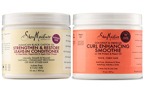 (Shea Moisture Coconut and Hibiscus Curl Enhancing Smoothie, 16 Ounce Family Size & Shea Moisture Jamaican Black Castor Oil Strengthen, Grow & Restore Leave-In Conditioner 16 Ounce)