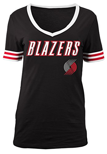 5th & Ocean NBA Portland Trail Blazers Adult Women Ladies Baby Jersey Short sleeve V Neck with Chenille Applique,L,black Trail Short Sleeve Jersey