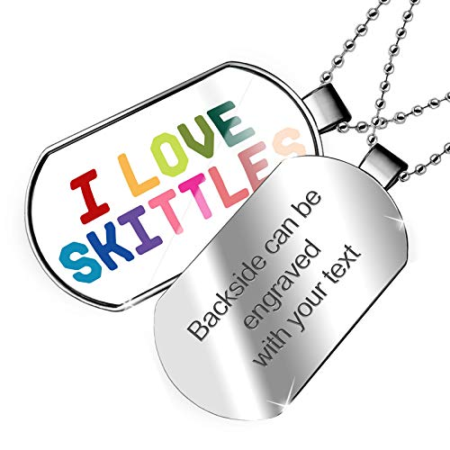 NEONBLOND Personalized Name Engraved I Love Skittles,Colorful Dogtag Necklace ()