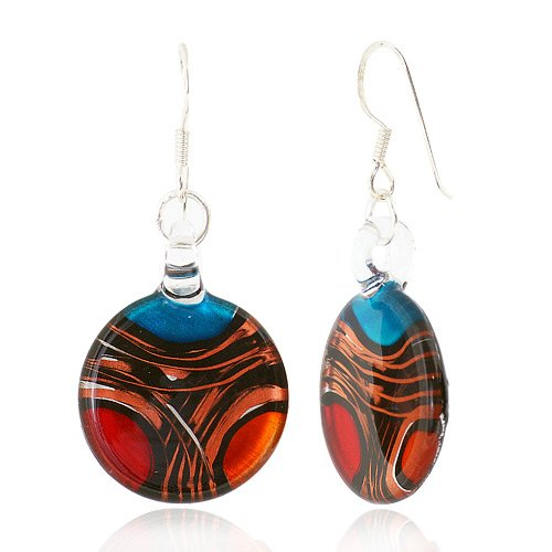Glass Handcraft (925 Sterling Silver Hand Blown Venetian Murano Glass Red Blue Yellow Gold Curve Dangle Earrings)