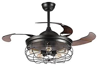 Parrot Uncle Ceiling Fans with Lights 42'' Vintage Farmhouse Fan Industrial Chandelier Fans with Retractable Blades, Remote Control, 5 Edison Bulbs Needed, Black Painted Finished