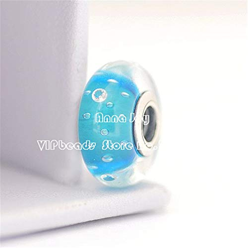Calvas Top Quality 925 Sterling Silver Sky Blue Effervescence Murano Glass Beads with Clear Embedded CZs European Charm Beads//ZS264A