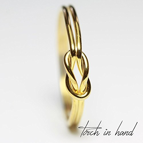 10k Solid Yellow Gold Infinity Knot Ring, Reef Knot, Love Knot Ring, Dainty Ring, Stacking Ring, Thumb Ring, Knuckle Ring, Midi Ring, Promise Ring by Torch In Hand