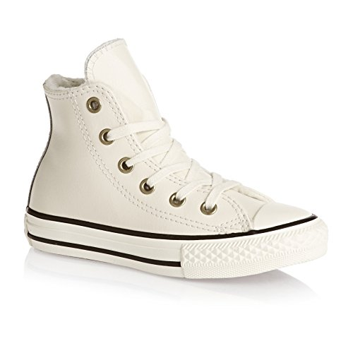 Converse Trainers - Converse Chuck Taylor Youth Leather All Star Shoes - Parchment/Black