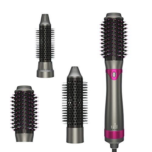 Upgraded Detachable Hot Air Brush, Hair Dryer Brush, One Step Hair Dryer & Volumizer,Curler Combo with Interchangeable Brush Head, Anti-scald Negative Ion Hair Straightener Brush, Low Noise Design