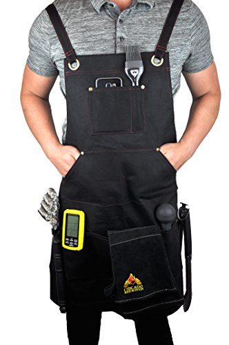 Black Welding BBQ Cooking Apron with Heavy Duty Waxed Canvas - Adjustable Sizing Straps Makes Great as Barber, Chef, Hairdresser (Pottery Black Dresser)
