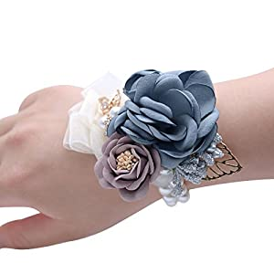 Better-way Flower Artificial Girl Bridesmaid Wedding Wrist Corsage Party Prom Hand Flower Stretch Bracelet 4 Pack 33