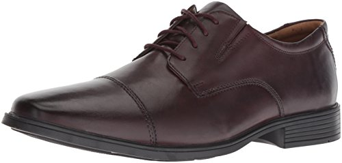 Clarks Men's Tilden Cap Oxford, Wine Leather, 8 W US