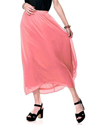 for Womens Dress Comfort fit Beachwear Coral Pink Large Chiffon Long Maxi Skirt by Regna X