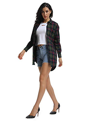 1e31e861ca OCHENTA Women s Long Sleeve Boyfriend Style Plaid Shirt Dress Casual Tops  C003BF Chris Green S