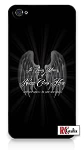 Custom DIY In Loving Memory Of Personalized Memorial with Black Background iPhone 4 Quality Hard Snap On Case for iPhone 4 4S 4G - AT&T Sprint Verizon - White Case Cover hjbrhga1544