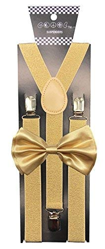 CD Gold Suspender with Matching Metalic, Champagne, Sequined Bowtie Set (Champagne -