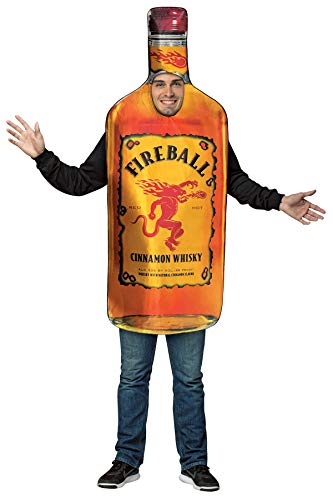 Mens Halloween Costume- Fireball - Get Real Bottle Adult Costume -