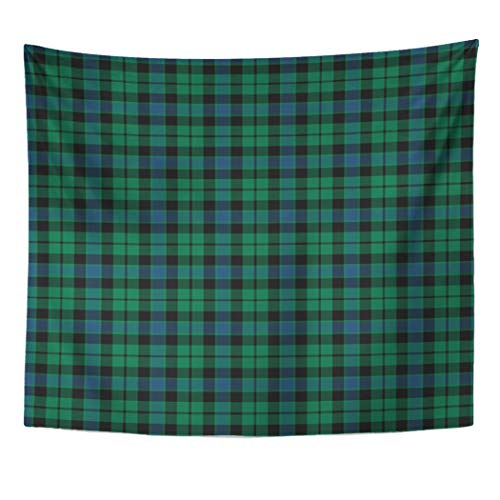 Semtomn Tapestry Artwork Wall Hanging Blue Vintage Mackay Clan Tartan Green Scottish Plaid Pollard 60x80 Inches Tapestries Mattress Tablecloth Curtain Home Decor Print ()