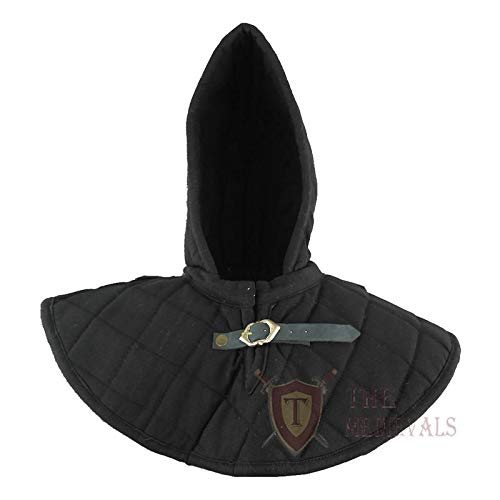 The Medival Shop Gambeson Medieval Cotton Hood with Coller SCA Costume Armor - -