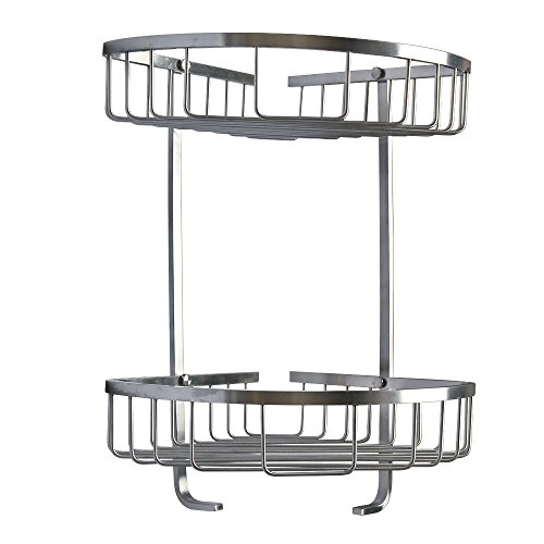 Alise G81302 SUS 304 Stainless Steel Bathroom Corner 2-Tier Large Corner Basket Wall Mount,Brushed Finish (Lotion Triangle Soap)