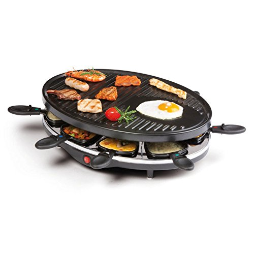 Raclette con parrilla, grill eléctrico de mesa, para verdura ...