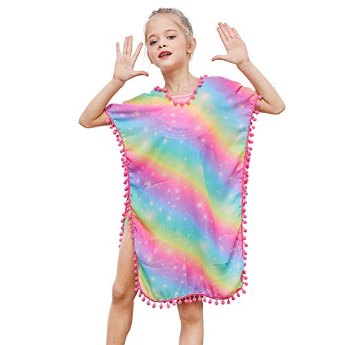 Beinou Cover Ups V-Neck Swim Dress for Toddler Girls with Pompom for Girls Rainbow