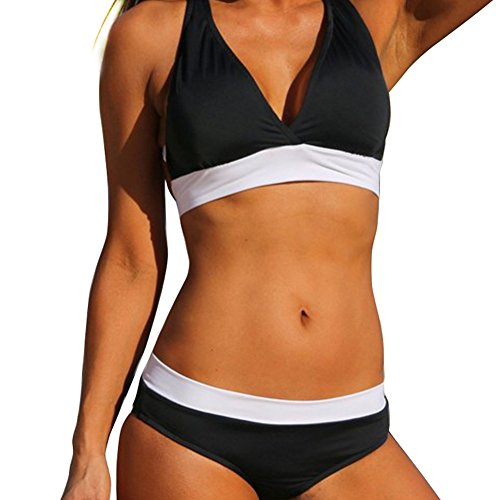 Tueenhuge Retro Vintage Elegant Bikini Two Piece Swimsuits High Waisted Swimwear (2 Piece Bikini Swimsuit)