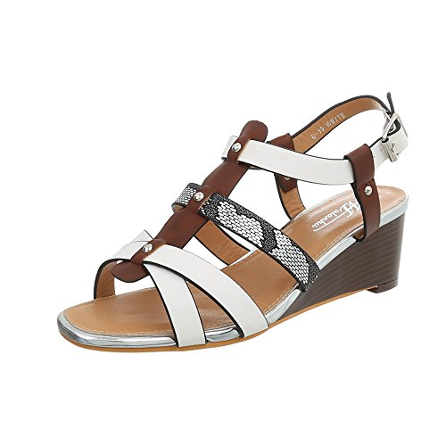 19 Compensees Ital Sandales Blanc Multi Design Q Chaussures Compensé Femme Sandales xqOvF