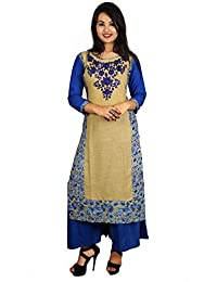 Blue Embroidered 3/4 Sleeve Cotton Women's Kurta and Palazzo Set
