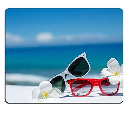 Liili Mouse Pad Natural Rubber Mousepad IMAGE ID: 27458738 Two pair of sun glasses on a beach table on blue ocean - Sunglasses Price Id