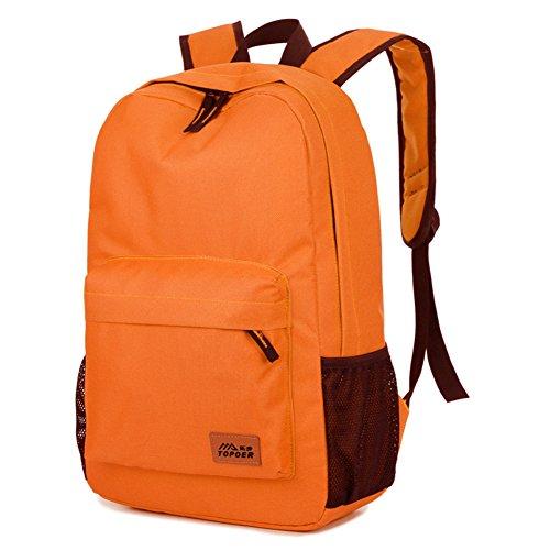 Outdoor peak Unisex hochwertige Nylon Büchertasche Rucksack Laptoptasche Unitasche Freizeitrucksack Schulrucksack Studententasche Daypacks Reisetasche Orange D2e0w6